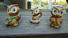 Vintage Set Of 3 Cute Cool Little OWL Figurine Musician Judge Baby In Bath Funny