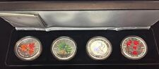 2001 to 2004 Canada Coloured & Hologram Silver Maple Leaf Set in Case