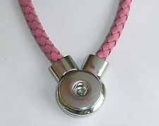 Snap It Pink Braided Leather Magnetic Necklace For Snap Charms