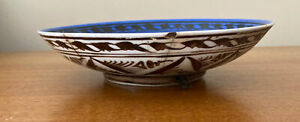 Antique Ceramic Bowl Middle Eastern Blue Glaze Trees Brown Handpainted
