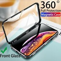 For iPhone XR XS Max X 360 Magnetic Adsorption Case Full Tempered Glass Cover