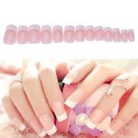 Fashion Manicure White Short French Style False Tips Fake Nail Sticker 24pcs