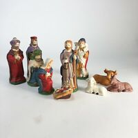 """10 piece vintage ceramic nativity set  Joseph is 4.5"""" tall for reference."""