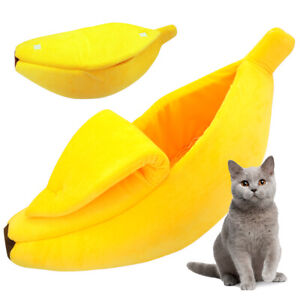Cute Banana Pet Sleeping Nest Bed Dog Cat Kitten Soft Velvet Sofa Kennel House