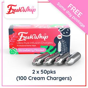 100 FreshWhip STRAWBERRY Flavour 8.2g N20 Bulbs -50 PACK X2 (100 CREAM CHARGERS)