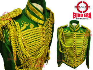 New Steampunk Men's Military Hussar Tunic jacket With aiguillette & Epaulettes