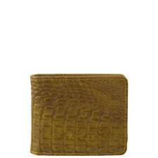BROWN VEGAN ALLIGATOR LEATHER MENS SHORT BIFOLD ID WALLET WEST WOLF