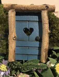 FAIRY GARDEN ~ Mini Rustic Helena Door Pick Blue w/ Heart