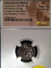 Kingdom of Thrace Lysimachus 305 BC AR Drachm Heracles Zeus NGC XF 5/5 4/5