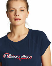 Champion Womens Tee T-Shirt Script Logo Double Dry V Notch Semi Fit Stretch Soft