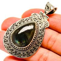 "Labradorite 925 Sterling Silver Pendant 2 1/4"" Ana Co Jewelry P747570F"