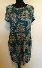 Ladies Size 14 White Stuff Teal Trees Short Sleeved Pocketed Dress <LR993