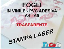 Carta ADESIVA A4 TRASPARENTE LUCIDA * stampanti laser * 10 fogli * PVC VINILE