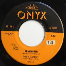 THE VELOURS doowop 45 Remember / Can I Walk You Home VG ONYX  w6087