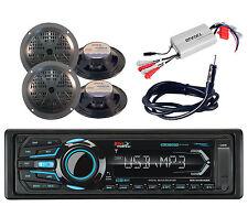 "Marine AM FM Bluetooth USB AUX Radio& Antenna,4 Black 5.25"" Speakers,Amplifier"