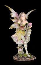 Gelbe Elfen Figur - Calista sitzend auf Pilz - Fee Fantasy Deko Statue