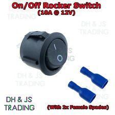 On/Off Round Rocker Switch & Female Crimp Spade Connectors Car Boat 12V 10A