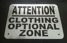 ATTENTION CLOTHING OPTIONAL ZONE Nude  Nudist Pool Hot Tub Sign Home Decor