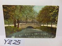 VINTAGE POSTED POSTCARD STAMP 1918 BRIDGE GLEN MILLER PARK RICHMOND INDIANA IN.
