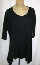 D 'Celli: Basic Long-shirt zipfellook noir viscose manches mi-longues 52 - 54 - 56