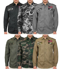 Men's American Military Long Sleeve US Army Camo Casual Button Up Dress Shirt