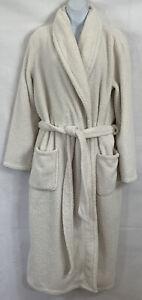 Gilligan & O'Malley Sz L/XL Ivory Fleece Luxe Plush Midi Robe Tie Belt Pockets