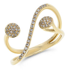 Wide 14K Yellow Gold Pave Round Diamond Cocktail Negative Space Right Hand Ring