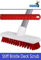 Stiff Bristle Deck Scrub Patio Decking Sweeping Brush With Strong Metal Handle