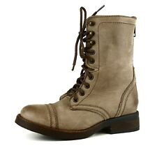 Steve Madden Munch Military Leather Boot Brown Women Sz 7.5 M 5669 *