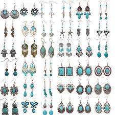 Women 18K Gold Turquoise Retro Tibetan Style Silver Dangle Hook Carved Earring H