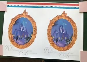 Walt Disney World 25th Anniversary Mickey Mouse untrimmed 2up poster proof 1996
