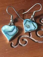 Vintage Mexico Silver With Abalone Inlay Heart Shaped Drop/Dangle Earrings