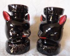 Wolf Salt and Pepper Shakers set red ears cork stoppers inside almost 3 in tall