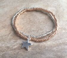 Rose Gold & Silver Seed Beaded Surfer Style Double Bracelet Star Charm Stretchy