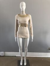TORY BURCH Cream Wool Sequin Embellished Sweater EXTRA SMALL