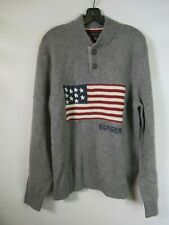 H0249 TOMMY HILFIGER Half Button Down American Flag Pull Over Sweater Size L