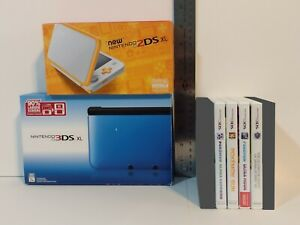 USED Nintendo 3DS XL (Blue and Black) and 2DS XL (Orange and White) Bundle
