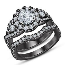2-1/2. Ct Round-Cut Diamond Bridal Wedding Engagement Ring Set 10k Black Gold Fn