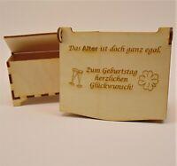 """Geschenk """" Zum Geburtstag """" Schatulle  aus Holz, Personalisiert, Geldgeschenk"""