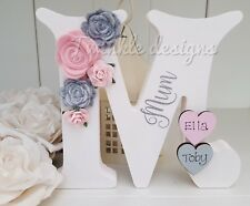Freestanding personalised roses wooden Mum Nanny 15cm gift ANY LETTER
