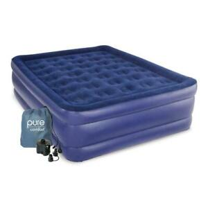 Queen Size Raised Durable Air Bed Mattress With Electric Powered Air Pump, Blue