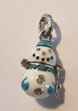 Brighton Blue & White Snowman Charm J94612 Nwt New w Tag