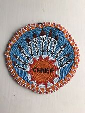 "RARE VINTAGE CHOCTAW INDIAN GLASS BEADWORK FOLK ART CHIEF LARGE 5"" PINBACK BADGE"