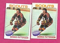 1975-76 TOPPS / OPC SCOUTS DENNIS PATTERSON ROOKIE CARD  (INV# C0466)