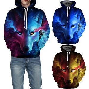 Mens Womens Galaxy 3D Wolf Hoodie Sweatshirt Unisex Pullover Hooded Jumper Tops