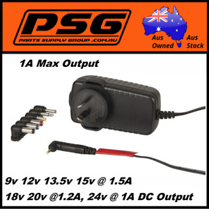 Ac/Dc Adaptor plug pack 9v 12v 13.5v 15v 18v 20v 24v Switchmode power supply 1A