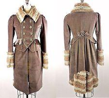 Victorian,Renaissance style Military Long Jacket Costume Nataya Brown Velvet S