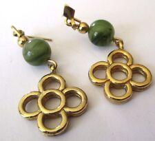 boucles pour oreilles percées bijou couleur or pampilles perle vert jade 637