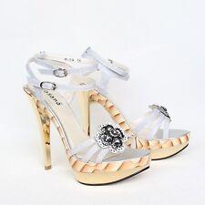 Damas plataforma tacón alto zapatos de salón 36 plata con tiras sandalias stilettos s-09