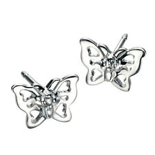 Butterfly Excellent Sterling Silver Fine Diamond Earrings